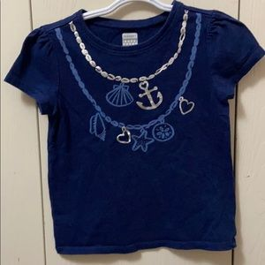 3/$20 Old Navy Navy Blue Tee w/Stamped Necklaces